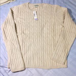 New off white crew neck long sleeve sweater